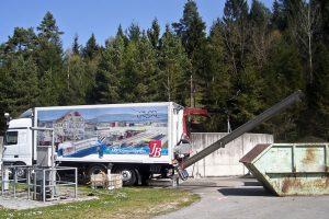 Mobile Schlammentwässerung auf LKW; Verladung des Klärschlamms erfolgt in 10 m³ Container