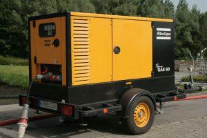 Bei Bedarf stellen wir ein Notstromaggregat zum Betrieb der mobilen Entwässerungsanlage zur Verfügung
